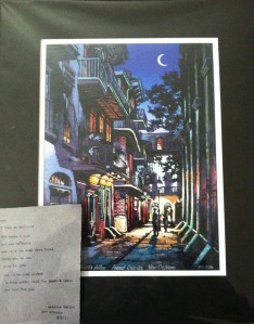 Ron Picou Print of Pirate's Alley & poem from Antoine Berard (1st night venture).